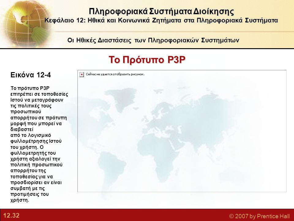 12.32 © 2007 by Prentice Hall Εικόνα 12-4 Το πρότυπο P3P επιτρέπει σε τοποθεσίες Ιστού να μεταγράφουν τις πολιτικές τους προσωπικού απορρήτου σε πρότυπη μορφή που μπορεί να διαβαστεί από το λογισμικό φυλλομέτρησης Ιστού του χρήστη.