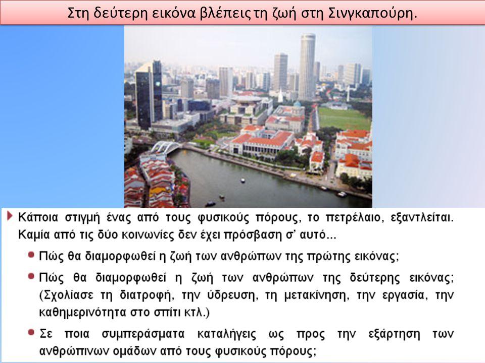 Στη δεύτερη εικόνα βλέπεις τη ζωή στη Σινγκαπούρη.
