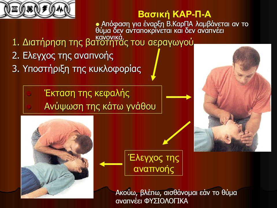 1.Διατήρηση της βατότητας του αεραγωγού 2. Ελεγχος της αναπνοής 3.