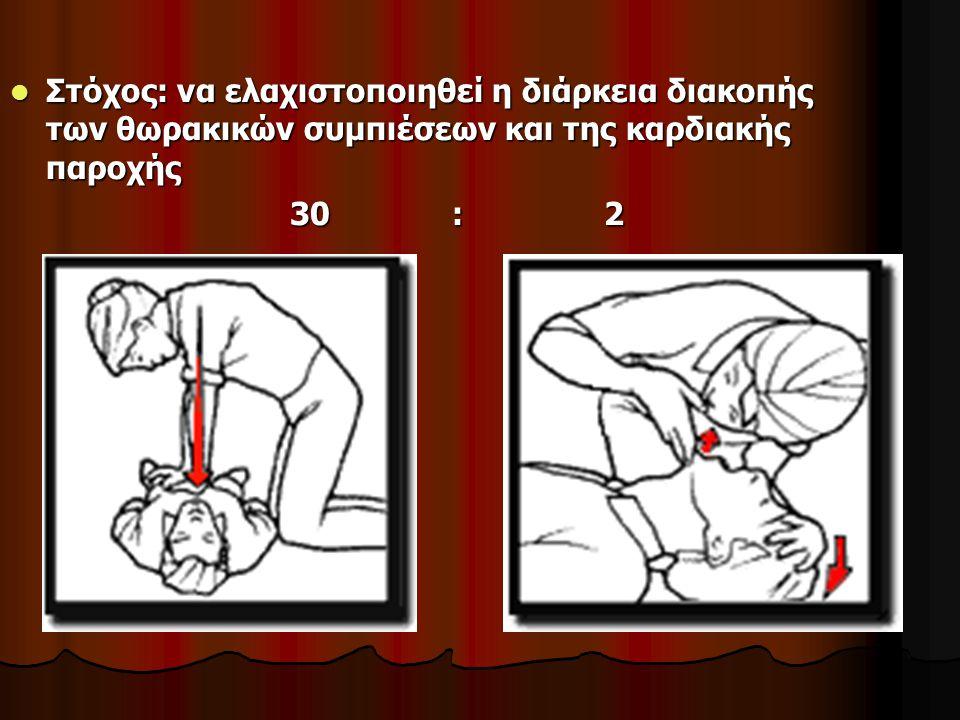 Στόχος: να ελαχιστοποιηθεί η διάρκεια διακοπής των θωρακικών συμπιέσεων και της καρδιακής παροχής Στόχος: να ελαχιστοποιηθεί η διάρκεια διακοπής των θωρακικών συμπιέσεων και της καρδιακής παροχής 30 : 2 30 : 2