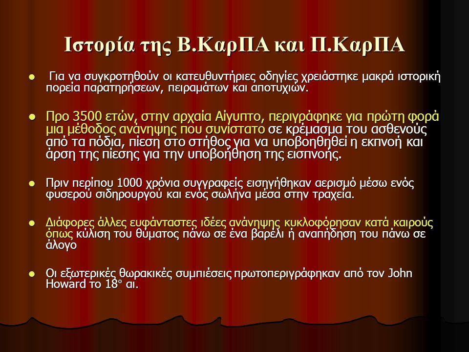 Ιστορία της σύγχρονης Β.ΚαρΠΑ και Π.ΚαρΠΑ: Ιστορία 50 ετών 1959: Αερισμός στόμα-με-στόμα (Safar, Elam) 1959: Αερισμός στόμα-με-στόμα (Safar, Elam) 1960: Θωρακικές συμπιέσεις (Aμερ.Kαρδ.Eταιρ) 1960: Θωρακικές συμπιέσεις (Aμερ.Kαρδ.Eταιρ) 1966: Πρώτες γραπτές οδηγίες ΚΑΡΠΑ (8 σελίδων) 1966: Πρώτες γραπτές οδηγίες ΚΑΡΠΑ (8 σελίδων) 1979: Αυτόματος εξωτερικός απινιδισμός (AED) (Diack) 1979: Αυτόματος εξωτερικός απινιδισμός (AED) (Diack) 1996: Διφασικός απινιδισμός για AED 1996: Διφασικός απινιδισμός για AED 2000: Πρώτες διεθνείς οδηγίες για την αναζωογόνηση (evidence-based) 2000: Πρώτες διεθνείς οδηγίες για την αναζωογόνηση (evidence-based) 2005: τελευταίες οδηγίες (186 σελ.) 2005: τελευταίες οδηγίες (186 σελ.)