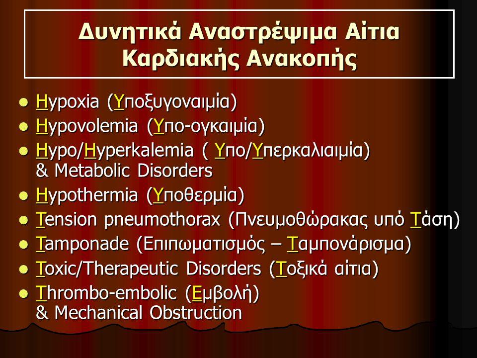 Δυνητικά Αναστρέψιμα Αίτια Καρδιακής Ανακοπής Hypoxia (Υποξυγοναιμία) Hypoxia (Υποξυγοναιμία) Hypovolemia (Υπο-ογκαιμία) Hypovolemia (Υπο-ογκαιμία) Hypo/Hyperkalemia ( Υπο/Υπερκαλιαιμία) & Metabolic Disorders Hypo/Hyperkalemia ( Υπο/Υπερκαλιαιμία) & Metabolic Disorders Hypothermia (Υποθερμία) Hypothermia (Υποθερμία) Tension pneumothorax (Πνευμοθώρακας υπό Τάση) Tension pneumothorax (Πνευμοθώρακας υπό Τάση) Tamponade (Επιπωματισμός – Ταμπονάρισμα) Tamponade (Επιπωματισμός – Ταμπονάρισμα) Toxic/Therapeutic Disorders (Τοξικά αίτια) Toxic/Therapeutic Disorders (Τοξικά αίτια) Thrombo-embolic (Εμβολή) & Mechanical Obstruction Thrombo-embolic (Εμβολή) & Mechanical Obstruction