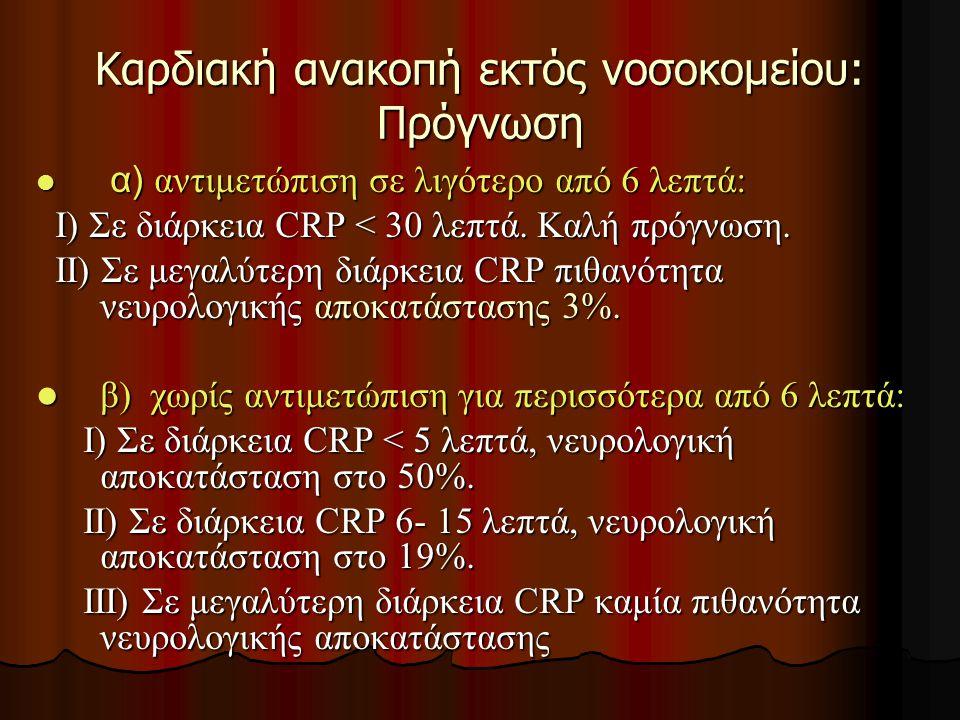 Καρδιακή ανακοπή εκτός νοσοκομείου: Πρόγνωση α) αντιμετώπιση σε λιγότερο από 6 λεπτά: α) αντιμετώπιση σε λιγότερο από 6 λεπτά: Ι) Σε διάρκεια CRP < 30 λεπτά.
