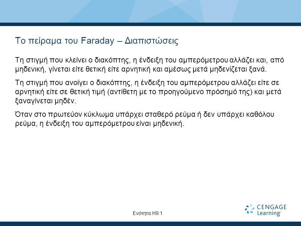 Το πείραμα του Faraday – Διαπιστώσεις Τη στιγμή που κλείνει ο διακόπτης, η ένδειξη του αμπερόμετρου αλλάζει και, από μηδενική, γίνεται είτε θετική είτε αρνητική και αμέσως μετά μηδενίζεται ξανά.
