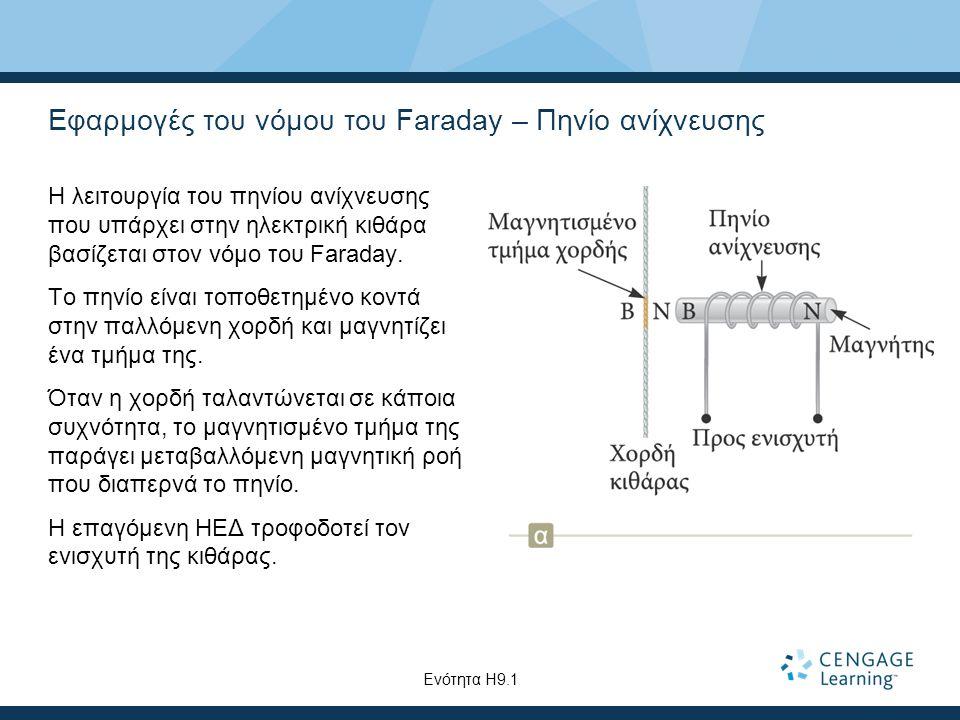 Εφαρμογές του νόμου του Faraday – Πηνίο ανίχνευσης Η λειτουργία του πηνίου ανίχνευσης που υπάρχει στην ηλεκτρική κιθάρα βασίζεται στον νόμο του Faraday.