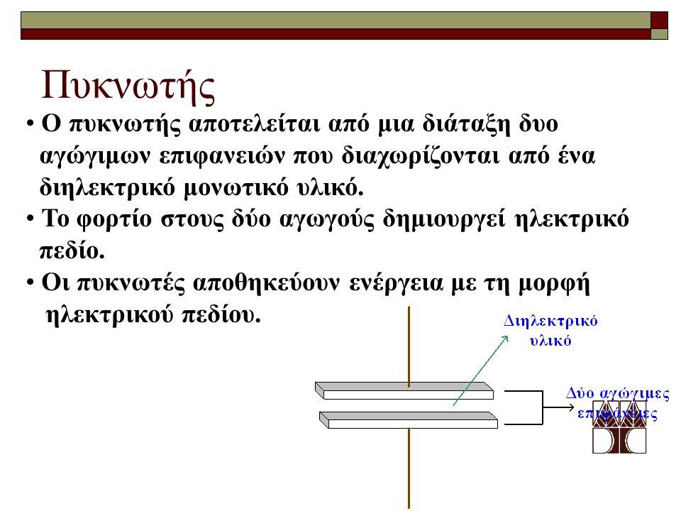Πυκνωτής Ο πυκνωτής αποτελείται από μια διάταξη δυο αγώγιμων επιφανειών που διαχωρίζονται από ένα διηλεκτρικό μονωτικό υλικό. Το φορτίο στους δύο αγωγ