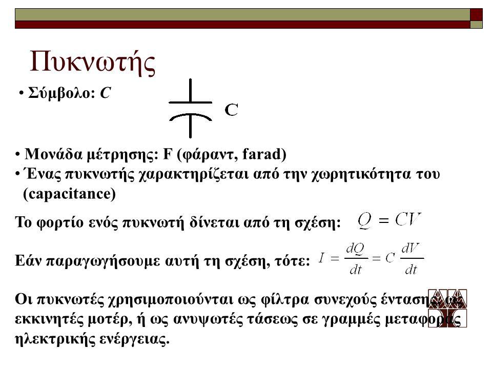 Πυκνωτής Σύμβολο: C Μονάδα μέτρησης: F (φάραντ, farad) Ένας πυκνωτής χαρακτηρίζεται από την χωρητικότητα του (capacitance) Το φορτίο ενός πυκνωτή δίνε