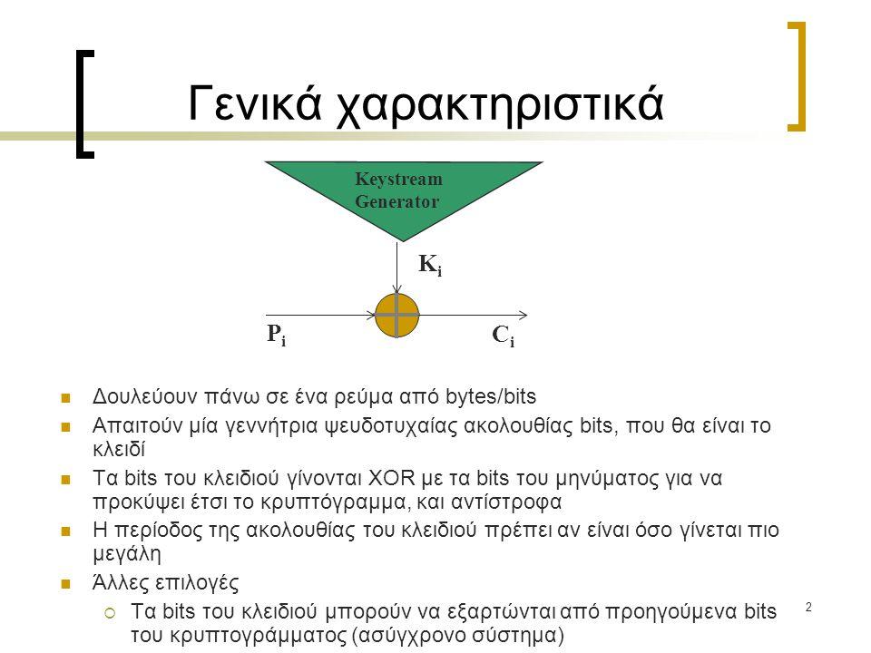 33 Γεννήτριες ψευδοτυχαίων ακολουθιών (III) To ρολόι ενός LFSR είναι η έξοδος κάποιου άλλου LFSR (clocked-controlled generators – Beth and Piper (1984)) Η περίοδος ισούται με 2 L 1 (2 L 2 -1)(2 L 3 -1) εάν L 2,L 3 πρώτοι μεταξύ τους H γραμμική πολυπλοκότητα (L 2 +L 3 )2 L 1 -1 < L(x)  (L 2 +L 3 )2 L 1 Για καλή έξοδο, οι καταχωρητές πρέπει να είναι όλοι πρωταρχικοί, παραπλήσιου μεγέθους και ανά δύο πρώτοι μεταξύ τους.