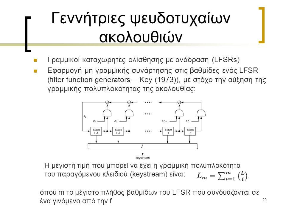 29 Γεννήτριες ψευδοτυχαίων ακολουθιών Γραμμικοί καταχωρητές ολίσθησης με ανάδραση (LFSRs) Εφαρμογή μη γραμμικής συνάρτησης στις βαθμίδες ενός LFSR (fi