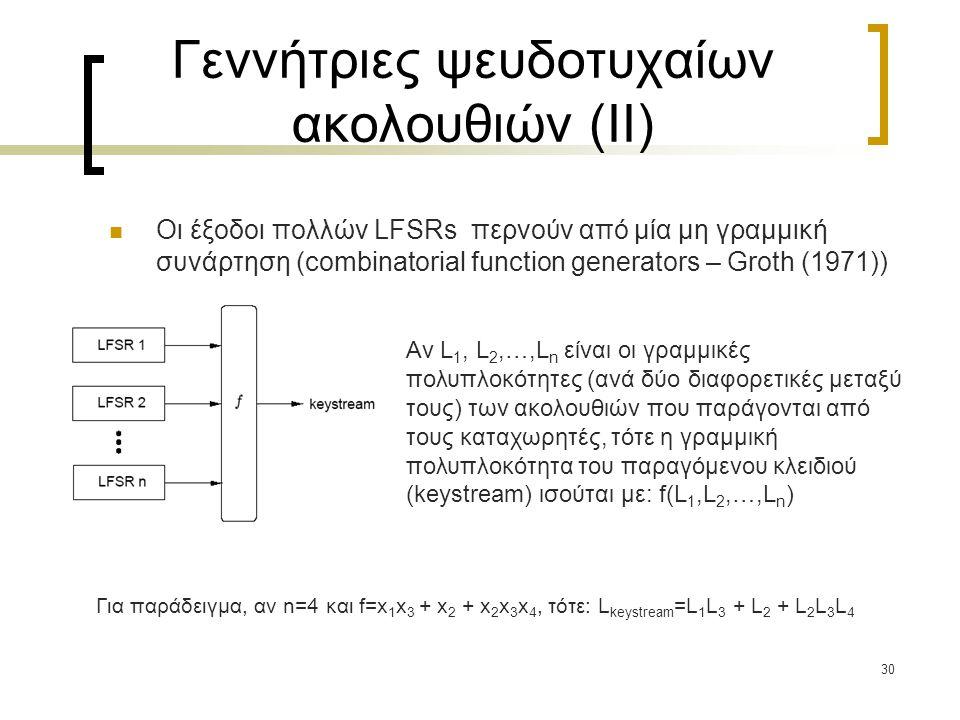 30 Γεννήτριες ψευδοτυχαίων ακολουθιών (II) Οι έξοδοι πολλών LFSRs περνούν από μία μη γραμμική συνάρτηση (combinatorial function generators – Groth (19