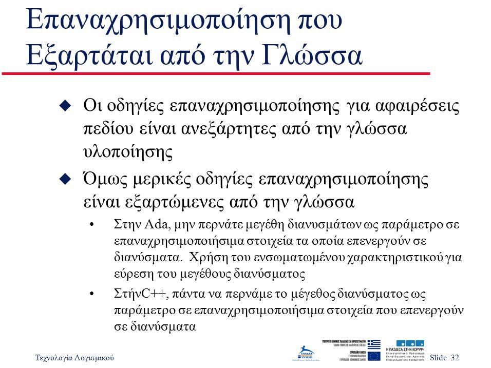 Τεχνολογία ΛογισμικούSlide 32 Επαναχρησιμοποίηση που Εξαρτάται από την Γλώσσα u Οι οδηγίες επαναχρησιμοποίησης για αφαιρέσεις πεδίου είναι ανεξάρτητες