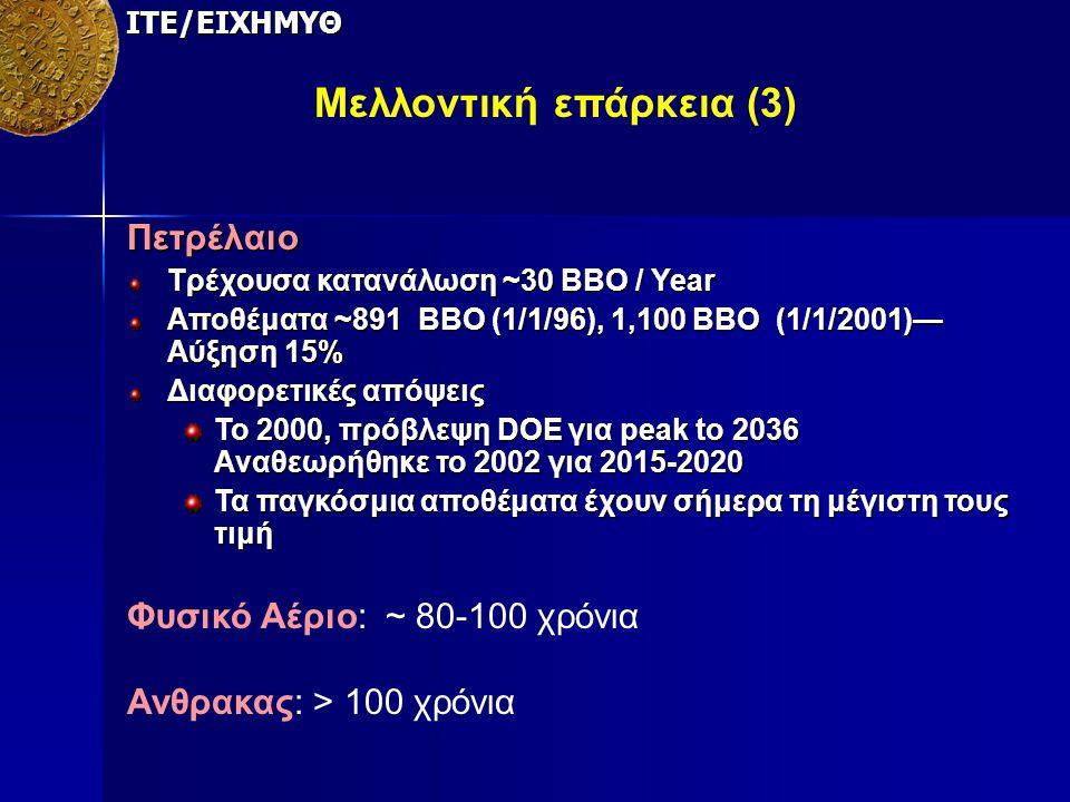 ΙΤΕ/ΕΙΧΗΜΥΘ Μελλοντική επάρκεια (3) Πετρέλαιο Τρέχουσα κατανάλωση ~30 BBO / Year Αποθέματα ~891 BBO (1/1/96), 1,100 BBO (1/1/2001)— Αύξηση 15% Διαφορε