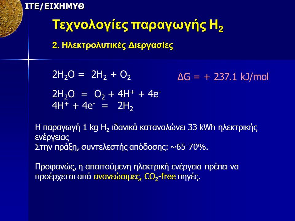 ΙΤΕ/ΕΙΧΗΜΥΘ 2Η 2 Ο = 2Η 2 + Ο 2 2Η 2 Ο = Ο 2 + 4Η + + 4e - 4H + + 4e - = 2H 2 ΔG = + 237.1 kJ/mol H παραγωγή 1 kg Η 2 ιδανικά καταναλώνει 33 kWh ηλεκτ