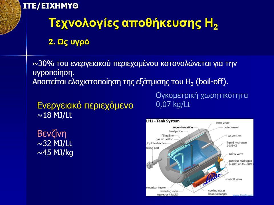 ΙΤΕ/ΕΙΧΗΜΥΘ Τεχνολογίες αποθήκευσης Η 2 2. Ως υγρό ~30% του ενεργειακού περιεχομένου καταναλώνεται για την υγροποίηση. Απαιτείται ελαχιστοποίηση της ε