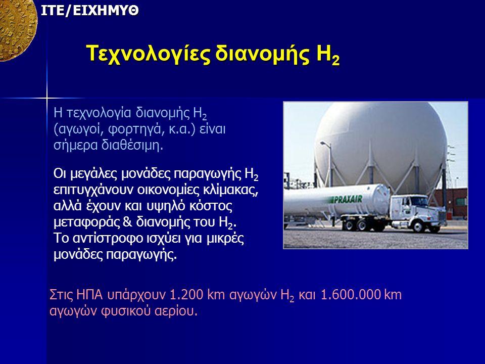 ΙΤΕ/ΕΙΧΗΜΥΘ Τεχνολογίες διανομής Η 2 Η τεχνολογία διανομής Η 2 (αγωγοί, φορτηγά, κ.α.) είναι σήμερα διαθέσιμη. Οι μεγάλες μονάδες παραγωγής Η 2 επιτυγ