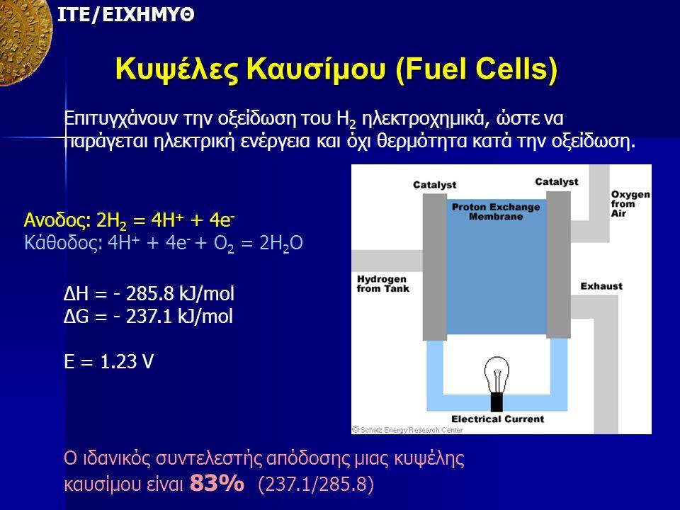 ΙΤΕ/ΕΙΧΗΜΥΘ Κυψέλες Καυσίμου (Fuel Cells) Επιτυγχάνουν την οξείδωση του Η 2 ηλεκτροχημικά, ώστε να παράγεται ηλεκτρική ενέργεια και όχι θερμότητα κατά
