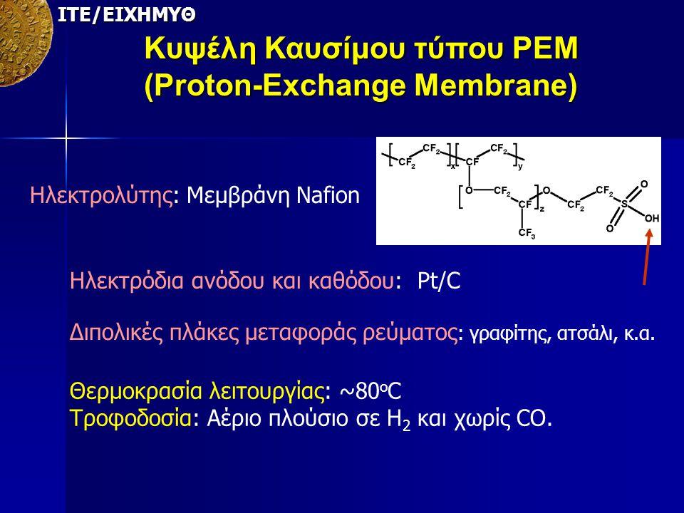 ΙΤΕ/ΕΙΧΗΜΥΘ Κυψέλη Καυσίμου τύπου PEM (Proton-Exchange Membrane) Ηλεκτρολύτης: Μεμβράνη Nafion Ηλεκτρόδια ανόδου και καθόδου: Pt/C Διπολικές πλάκες με
