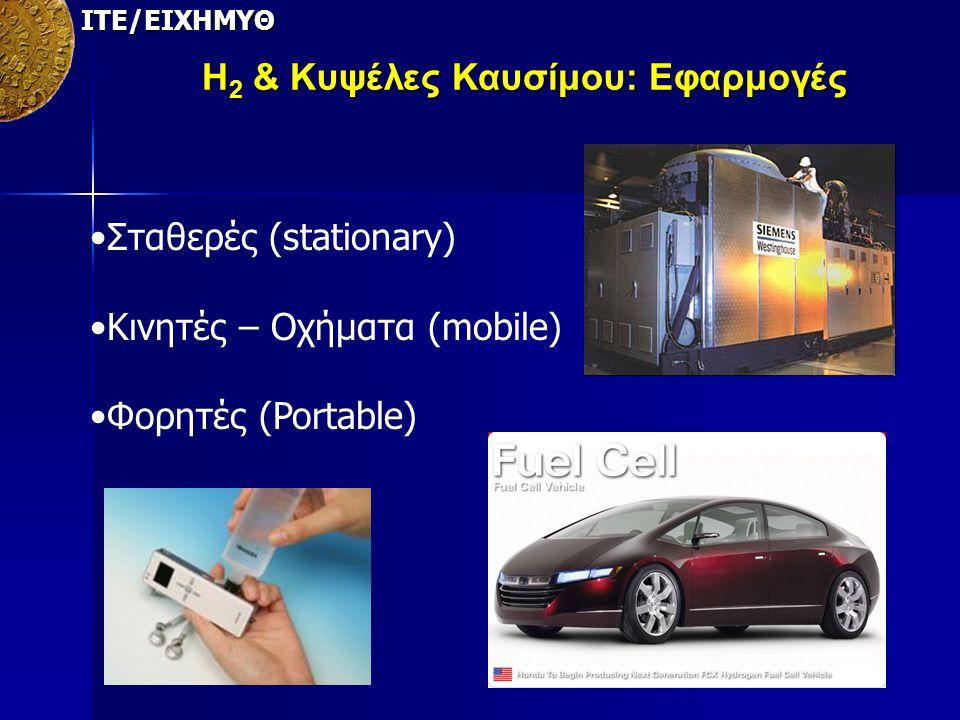 ΙΤΕ/ΕΙΧΗΜΥΘ Η 2 & Κυψέλες Καυσίμου: Εφαρμογές Σταθερές (stationary) Kινητές – Οχήματα (mobile) Φορητές (Portable)