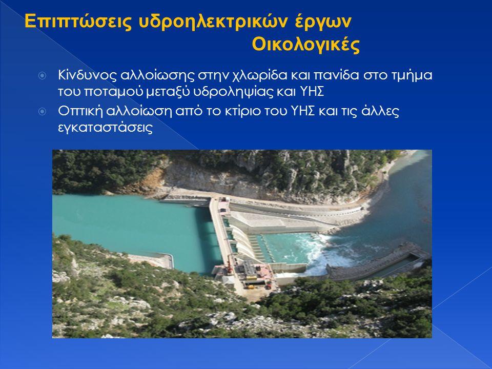  Κίνδυνος αλλοίωσης στην χλωρίδα και πανίδα στο τμήμα του ποταμού μεταξύ υδροληψίας και ΥΗΣ  Οπτική αλλοίωση από το κτίριο του ΥΗΣ και τις άλλες εγκ