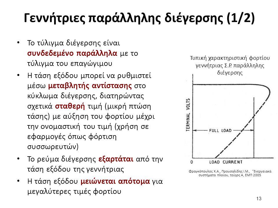 Γεννήτριες παράλληλης διέγερσης (1/2) Το τύλιγμα διέγερσης είναι συνδεδεμένο παράλληλα με το τύλιγμα του επαγώγιμου Η τάση εξόδου μπορεί να ρυθμιστεί μέσω μεταβλητής αντίστασης στο κύκλωμα διέγερσης, διατηρώντας σχετικά σταθερή τιμή (μικρή πτώση τάσης) με αύξηση του φορτίου μέχρι την ονομαστική του τιμή (χρήση σε εφαρμογές όπως φόρτιση συσσωρευτών) Το ρεύμα διέγερσης εξαρτάται από την τάση εξόδου της γεννήτριας Η τάση εξόδου μειώνεται απότομα για μεγαλύτερες τιμές φορτίου 13 Τυπική χαρακτηριστική φορτίου γεννήτριας Σ.Ρ.