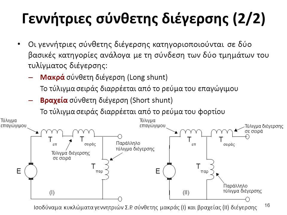 Γεννήτριες σύνθετης διέγερσης (2/2) Οι γεννήτριες σύνθετης διέγερσης κατηγοριοποιούνται σε δύο βασικές κατηγορίες ανάλογα με τη σύνδεση των δύο τμημάτων του τυλίγματος διέγερσης: – Μακρά σύνθετη διέγερση (Long shunt) Το τύλιγμα σειράς διαρρέεται από το ρεύμα του επαγώγιμου – Βραχεία σύνθετη διέγερση (Short shunt) Το τύλιγμα σειράς διαρρέεται από το ρεύμα του φορτίου 16 Ισοδύναμα κυκλώματα γεννητριών Σ.Ρ.