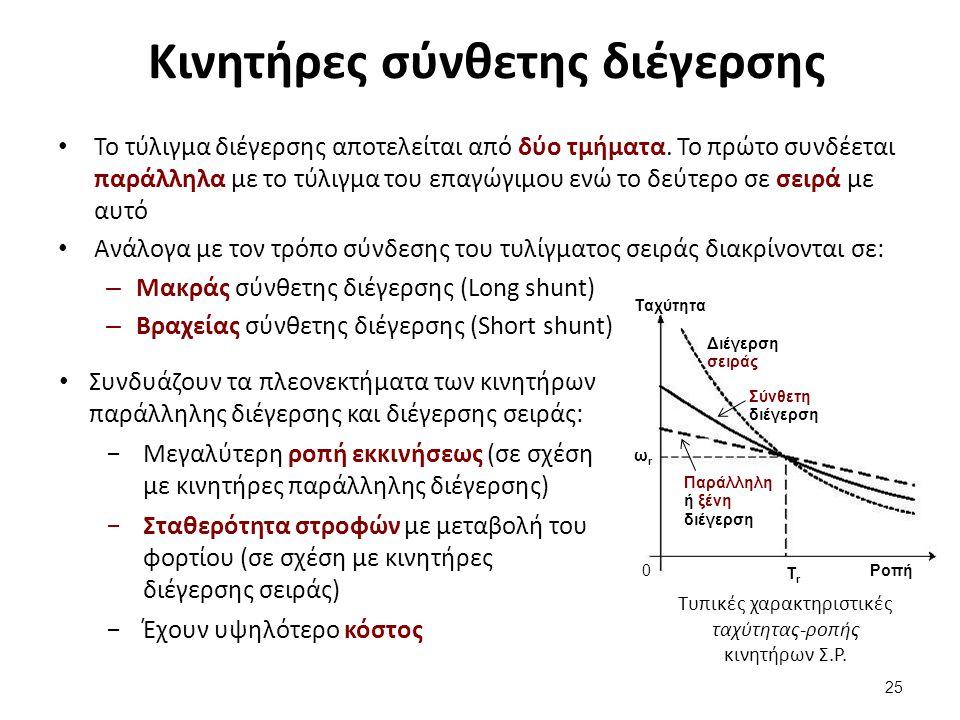 Κινητήρες σύνθετης διέγερσης Το τύλιγμα διέγερσης αποτελείται από δύο τμήματα.