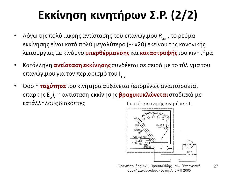 Εκκίνηση κινητήρων Σ.Ρ.(2/2) 27 Τυπικός εκκινητής κινητήρα Σ.Ρ.