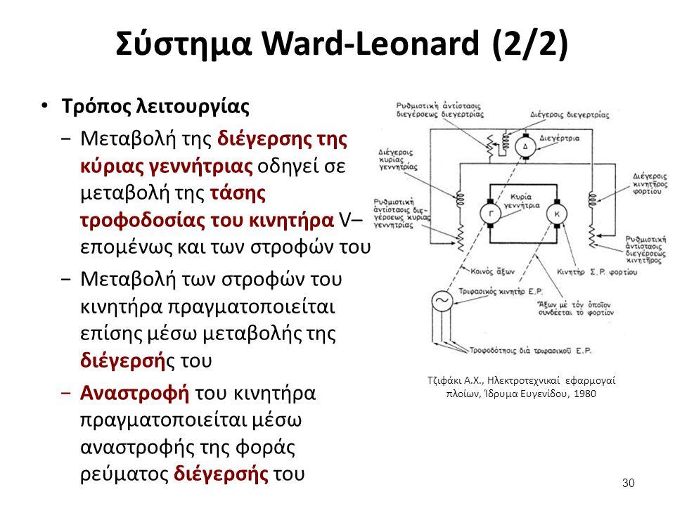 Σύστημα Ward-Leonard (2/2) Τρόπος λειτουργίας −Μεταβολή της διέγερσης της κύριας γεννήτριας οδηγεί σε μεταβολή της τάσης τροφοδοσίας του κινητήρα V– επομένως και των στροφών του −Μεταβολή των στροφών του κινητήρα πραγματοποιείται επίσης μέσω μεταβολής της διέγερσής του −Αναστροφή του κινητήρα πραγματοποιείται μέσω αναστροφής της φοράς ρεύματος διέγερσής του 30 Τζιφάκι Α.Χ., Ηλεκτροτεχνικαί εφαρμογαί πλοίων, Ίδρυμα Ευγενίδου, 1980