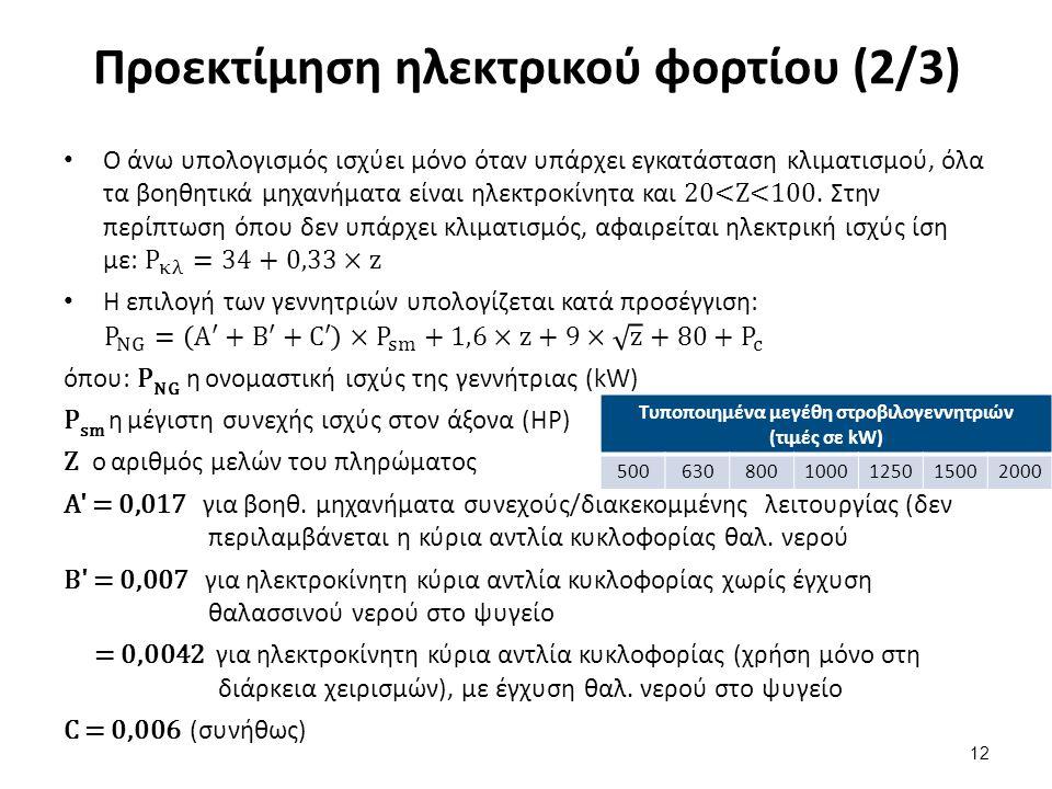 Προεκτίμηση ηλεκτρικού φορτίου (2/3) 12 Τυποποιημένα μεγέθη στροβιλογεννητριών (τιμές σε kW) 5006308001000125015002000