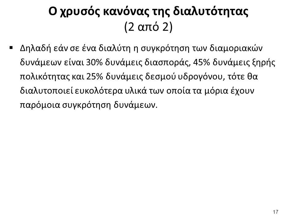 Ο χρυσός κανόνας της διαλυτότητας (2 από 2)  Δηλαδή εάν σε ένα διαλύτη η συγκρότηση των διαμοριακών δυνάμεων είναι 30% δυνάμεις διασποράς, 45% δυνάμε