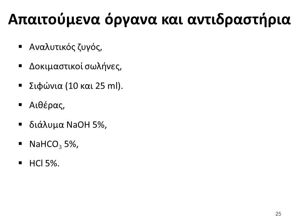 Απαιτούμενα όργανα και αντιδραστήρια  Αναλυτικός ζυγός,  Δοκιμαστικοί σωλήνες,  Σιφώνια (10 και 25 ml).  Αιθέρας,  διάλυμα NaOH 5%,  NaHCO 3 5%,