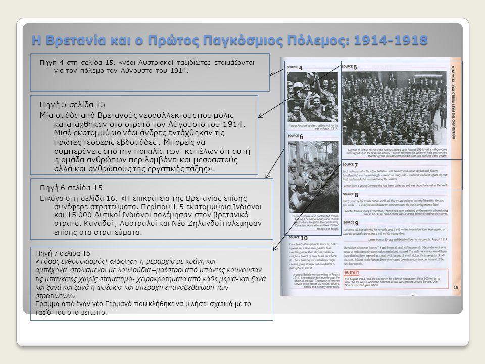 Η Βρετανία και ο Πρώτος Παγκόσμιος Πόλεμος: 1914-1918 Πηγή 4 στη σελίδα 15. «νέοι Αυστριακοί ταξιδιώτες ετοιμάζονται για τον πόλεμο τον Αύγουστο του 1