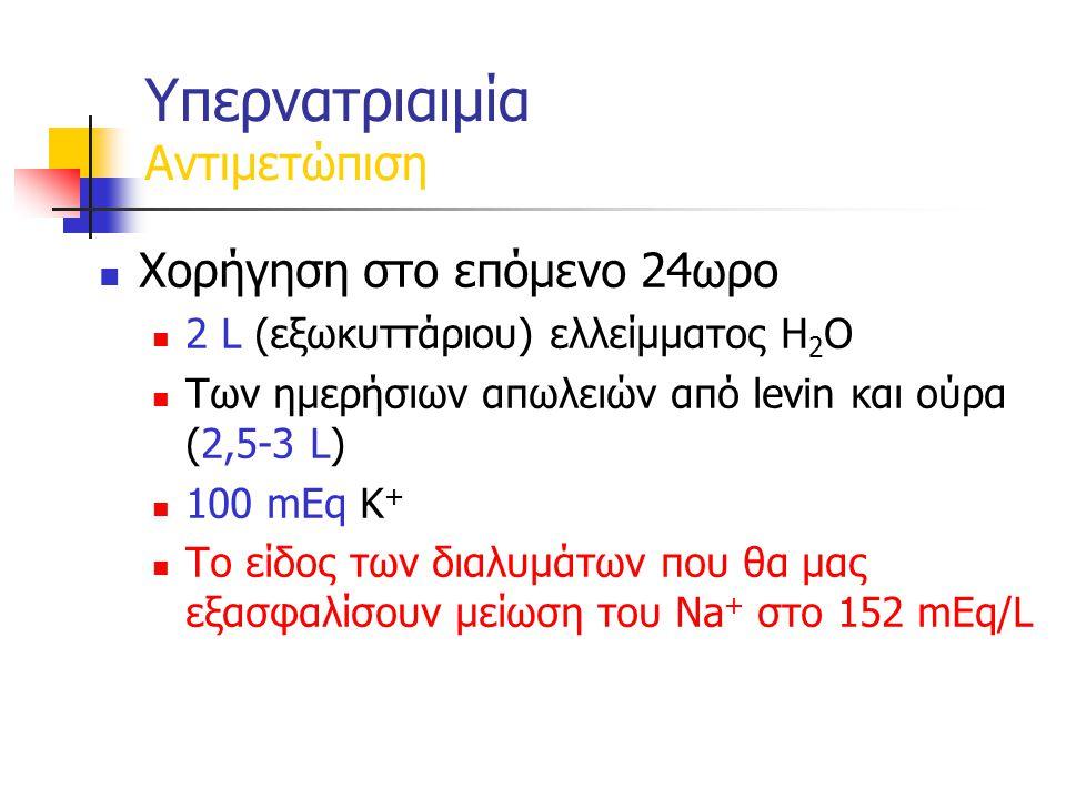 Χορήγηση στο επόμενο 24ωρο 2 L (εξωκυττάριου) ελλείμματος H 2 O Των ημερήσιων απωλειών από levin και ούρα (2,5-3 L) 100 mEq K + Το είδος των διαλυμάτων που θα μας εξασφαλίσουν μείωση του Νa + στο 152 mEq/L Υπερνατριαιμία Αντιμετώπιση