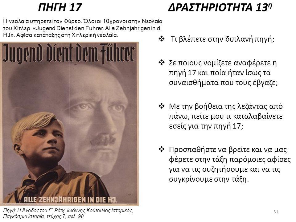 ΠΗΓΗ 17 Πηγή: Η Άνοδος του Γ΄ Ράιχ, Ιωάννης Κούτουλας Ιστορικός, Παγκόσμια Ιστορία, τεύχος 7, σελ. 98 Η νεολαία υπηρετεί τον Φύρερ. Όλοι οι 10χρονοι σ