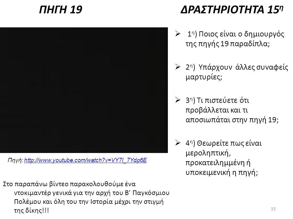 ΠΗΓΗ 19 Πηγή: http://www.youtube.com/watch?v=VY7I_7Ydp6Ehttp://www.youtube.com/watch?v=VY7I_7Ydp6E ΔΡΑΣΤΗΡΙΟΤΗΤΑ 15 η  1 η ) Ποιος είναι ο δημιουργός