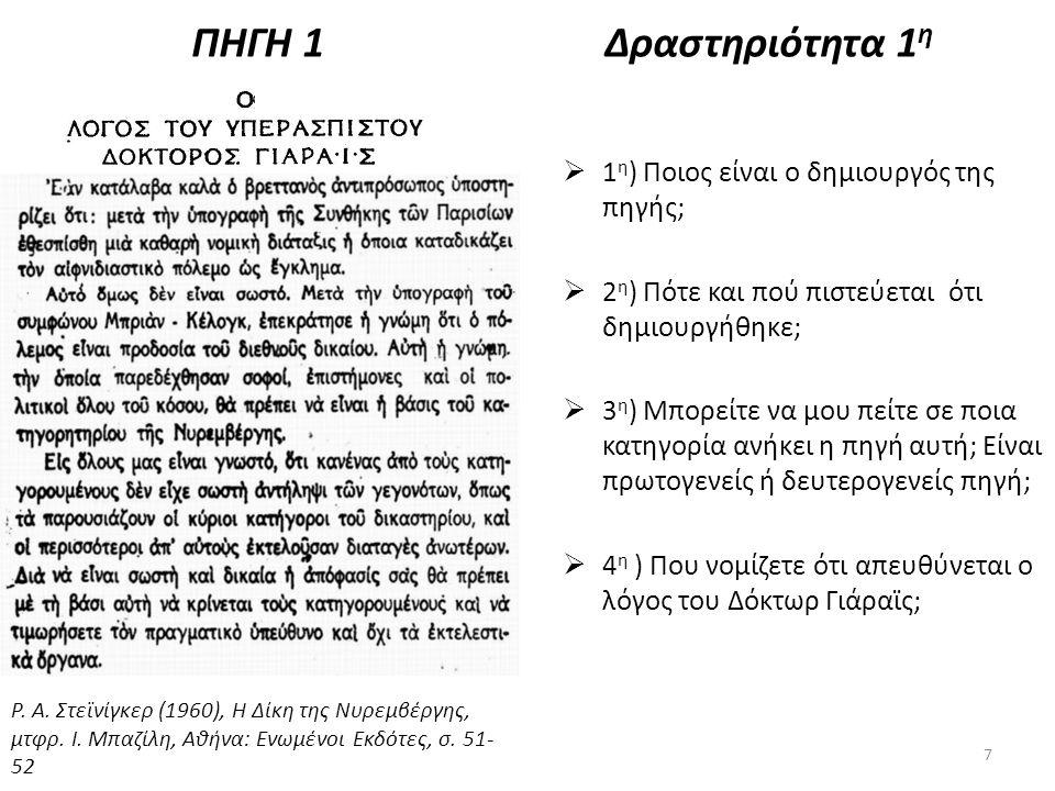 ΠΗΓΗ 1Δραστηριότητα 1 η  1 η ) Ποιος είναι ο δημιουργός της πηγής;  2 η ) Πότε και πού πιστεύεται ότι δημιουργήθηκε;  3 η ) Μπορείτε να μου πείτε σ