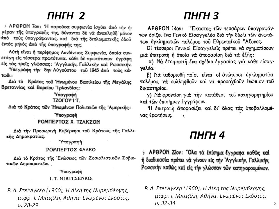 ΠΗΓΗ 2 Ρ. Α. Στεϊνίγκερ (1960), Η Δίκη της Νυρεμβέργης, μτφρ. Ι. Μπαζίλη, Αθήνα: Ενωμένοι Εκδότες, σ. 28-29 ΠΗΓΗ 3 Ρ. Α. Στεϊνίγκερ (1960), Η Δίκη της