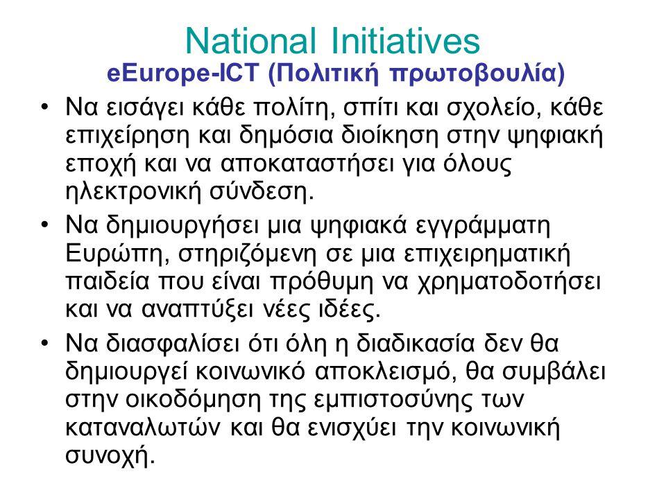National Initiatives eEurope-ICT (Πολιτική πρωτοβουλία) Να εισάγει κάθε πολίτη, σπίτι και σχολείο, κάθε επιχείρηση και δημόσια διοίκηση στην ψηφιακή εποχή και να αποκαταστήσει για όλους ηλεκτρονική σύνδεση.
