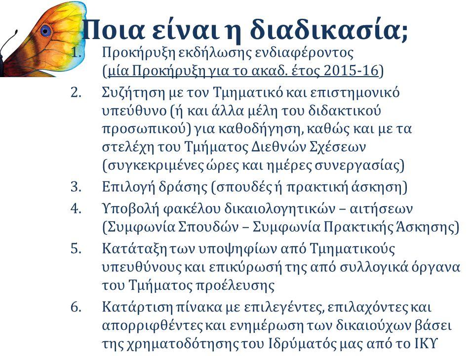 Ποια είναι η διαδικασία; 1.Προκήρυξη εκδήλωσης ενδιαφέροντος (μία Προκήρυξη για το ακαδ. έτος 2015-16) 2.Συζήτηση με τον Τμηματικό και επιστημονικό υπ