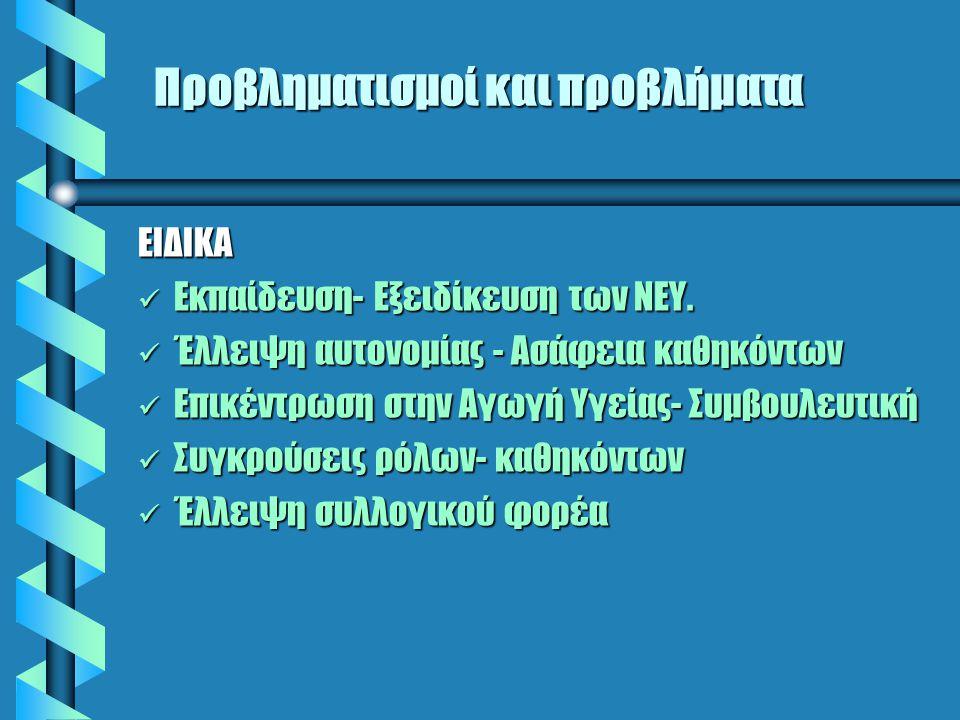Προβληματισμοί και προβλήματα ΕΙΔΙΚΑ Εκπαίδευση- Εξειδίκευση των ΝΕΥ.