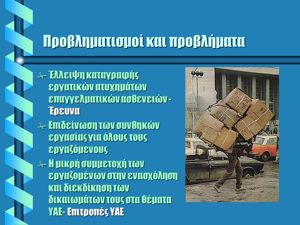 Προβληματισμοί και προβλήματα # Έλλειψη καταγραφής εργατικών ατυχημάτων επαγγελματικών ασθενειών - Έρευνα # Επιδείνωση των συνθηκών εργασίας για όλους τους εργαζόμενους # Η μικρή συμμετοχή των εργαζομένων στην ενασχόληση και διεκδίκηση των δικαιωμάτων τους στα θέματα ΥΑΕ- Επιτροπές ΥΑΕ
