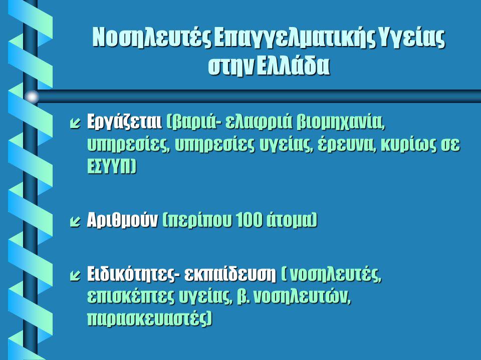 Νοσηλευτές Επαγγελματικής Υγείας στην Ελλάδα í Εργάζεται (βαριά- ελαφριά βιομηχανία, υπηρεσίες, υπηρεσίες υγείας, έρευνα, κυρίως σε ΕΣΥΥΠ) í Αριθμούν (περίπου 100 άτομα) í Ειδικότητες- εκπαίδευση ( νοσηλευτές, επισκέπτες υγείας, β.
