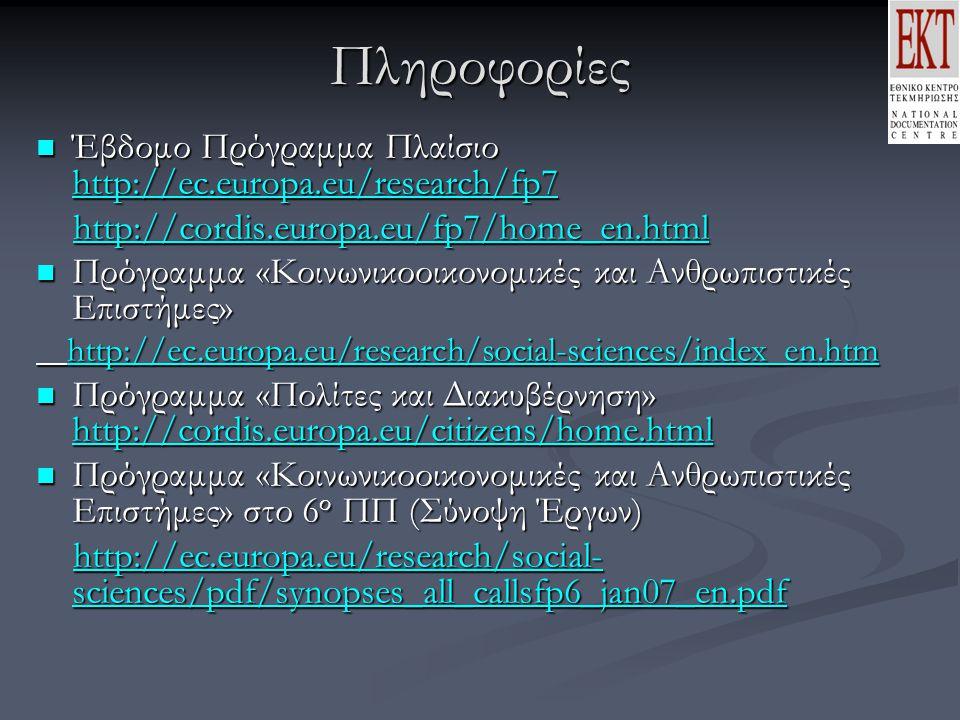 Πληροφορίες Έβδομο Πρόγραμμα Πλαίσιο http://ec.europa.eu/research/fp7 Έβδομο Πρόγραμμα Πλαίσιο http://ec.europa.eu/research/fp7 http://ec.europa.eu/research/fp7 http://cordis.europa.eu/fp7/home_en.html http://cordis.europa.eu/fp7/home_en.html Πρόγραμμα «Κοινωνικοοικονομικές και Ανθρωπιστικές Επιστήμες» Πρόγραμμα «Κοινωνικοοικονομικές και Ανθρωπιστικές Επιστήμες» http://ec.europa.eu/research/social-sciences/index_en.htm http://ec.europa.eu/research/social-sciences/index_en.htm http://ec.europa.eu/research/social-sciences/index_en.htm Πρόγραμμα «Πολίτες και Διακυβέρνηση» http://cordis.europa.eu/citizens/home.html Πρόγραμμα «Πολίτες και Διακυβέρνηση» http://cordis.europa.eu/citizens/home.html Πρόγραμμα «Κοινωνικοοικονομικές και Ανθρωπιστικές Επιστήμες» στο 6 ο ΠΠ (Σύνοψη Έργων) Πρόγραμμα «Κοινωνικοοικονομικές και Ανθρωπιστικές Επιστήμες» στο 6 ο ΠΠ (Σύνοψη Έργων) http://ec.europa.eu/research/social- sciences/pdf/synopses_all_callsfp6_jan07_en.pdf http://ec.europa.eu/research/social- sciences/pdf/synopses_all_callsfp6_jan07_en.pdfhttp://ec.europa.eu/research/social- sciences/pdf/synopses_all_callsfp6_jan07_en.pdfhttp://ec.europa.eu/research/social- sciences/pdf/synopses_all_callsfp6_jan07_en.pdf