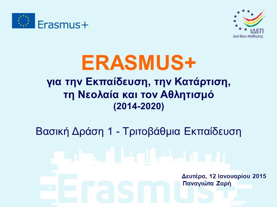 ERASMUS+ για την Εκπαίδευση, την Κατάρτιση, τη Νεολαία και τον Αθλητισμό (2014-2020) Βασική Δράση 1 - Τριτοβάθμια Εκπαίδευση Δευτέρα, 12 Ιανουαρίου 2015 Παναγιώτα Ζαρή