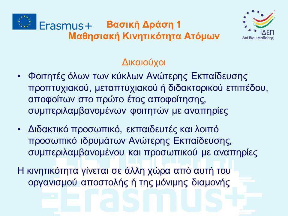 Βασική Δράση 1 Μαθησιακή Κινητικότητα Ατόμων Υποβάλλονται αιτήσεις από: Ανώτερα εκπαιδευτικά ιδρύματα (HEI) που έχουν λάβει τον Πανεπιστημιακό Χάρτη Erasmus (ECHE) και είναι σε χώρες του Προγράμματος Consortia Κινητικότητας (που έχουν HE Mobility Consortium Certificate) Σημειώσεις: Το Ίδρυμα υποβάλλει μόνο του αλλά και μέσα από Consortium (no double funding) Οι φοιτητές και το προσωπικό ανώτερης εκπαίδευσης δεν μπορούν να υποβάλουν απευθείας αίτηση επιχορήγησης