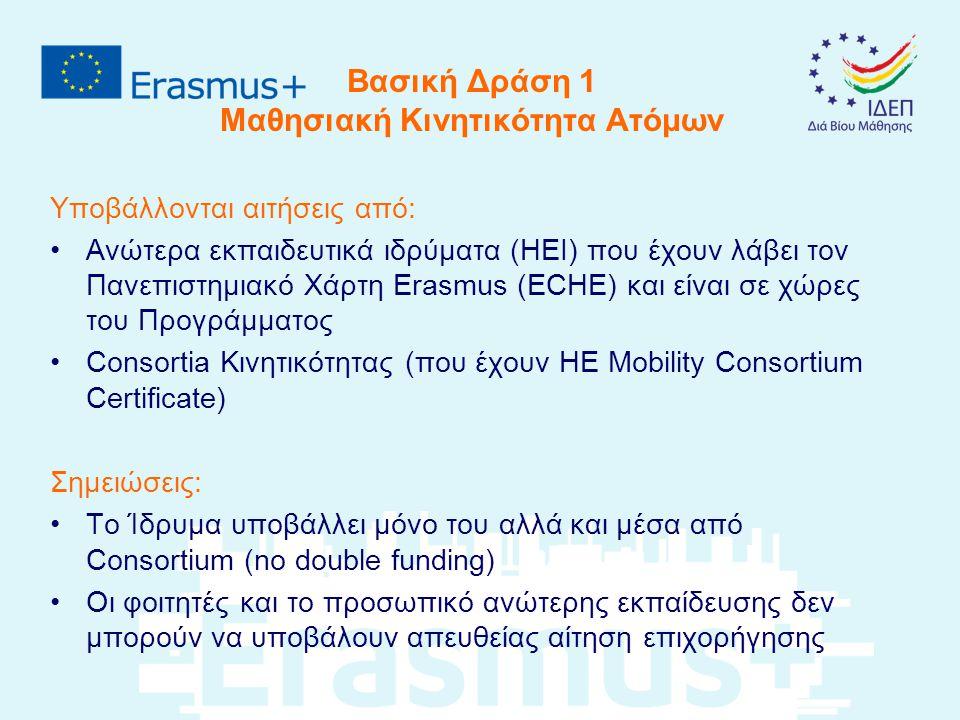 Βασική Δράση 1 Μαθησιακή Κινητικότητα Ατόμων Κινητικότητα Φοιτητών για σπουδές (από το δεύτερο έτος) για κατάρτιση/εργασία (από το πρώτο έτος) συνδυασμός των δύο σε μια κινητικότητα (3 μήνες min.) για απόφοιτους μέσα στο πρώτο έτος μετά την αποφοίτησή τους Η κινητικότητα θα πρέπει να αποτελεί μέρος του προγράμματος σπουδών του φοιτητή (για κατάρτιση, αν είναι δυνατό) Learning Agreement για αναγνώριση Διαδικτυακή Γλωσσική προετοιμασία από τα ιδρύματα ανώτερης εκπαίδευσης (licenses or OS contribution)