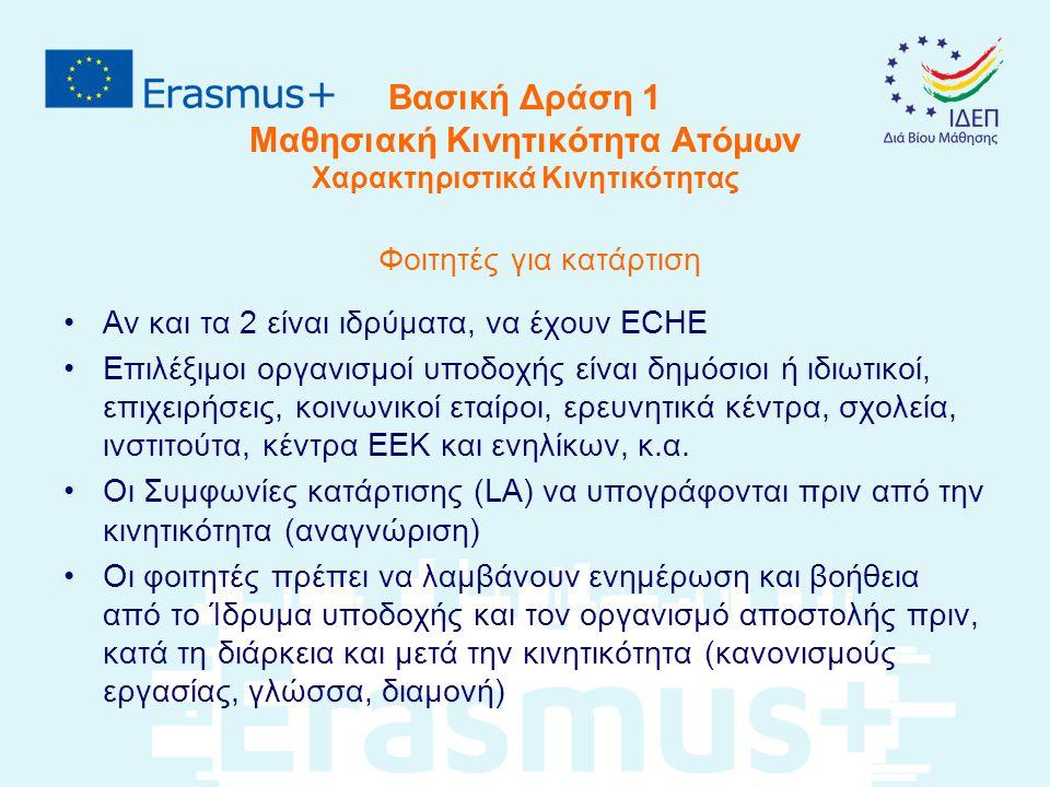 Βασική Δράση 1 Μαθησιακή Κινητικότητα Ατόμων Χαρακτηριστικά Κινητικότητας Φοιτητές για κατάρτιση Αν και τα 2 είναι ιδρύματα, να έχουν ECHE Επιλέξιμοι οργανισμοί υποδοχής είναι δημόσιοι ή ιδιωτικοί, επιχειρήσεις, κοινωνικοί εταίροι, ερευνητικά κέντρα, σχολεία, ινστιτούτα, κέντρα ΕΕΚ και ενηλίκων, κ.α.