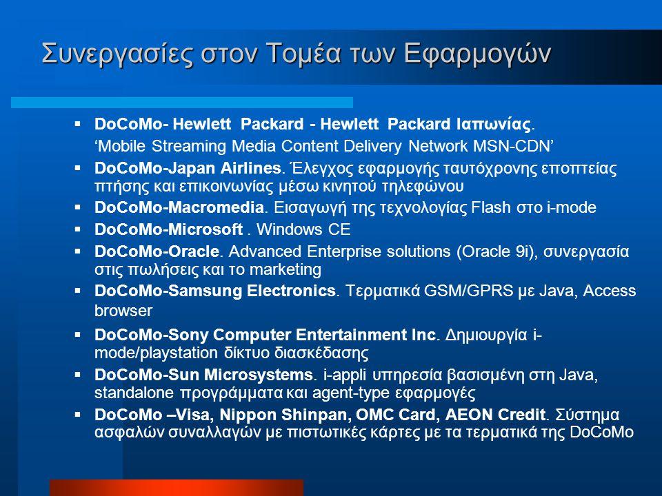 Συνεργασίες στον Τομέα των Εφαρμογών  DoCoMo- Hewlett Packard - Hewlett Packard Ιαπωνίας.