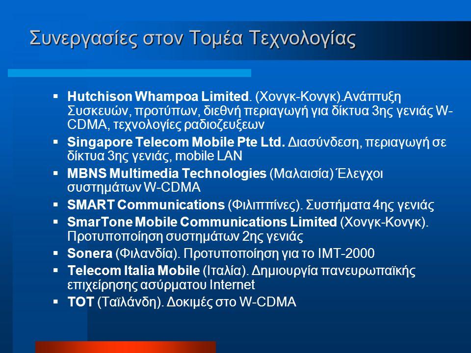 Συνεργασίες στον Τομέα Τεχνολογίας  Hutchison Whampoa Limited.