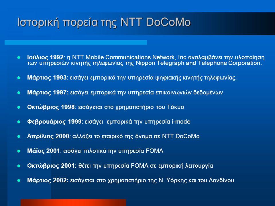 Ιστορική πορεία της NTT DoCoMo Ιούλιος 1992: η NTT Mobile Communications Network, Inc αναλαμβάνει την υλοποίηση των υπηρεσιών κινητής τηλεφωνίας της Nippon Telegraph and Telephone Corporation.